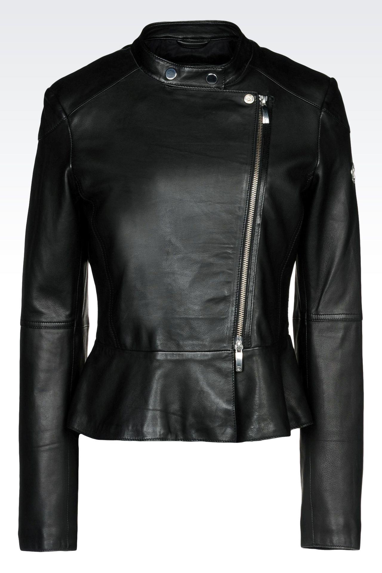 LAMBSKIN JACKET WITH ASYMMETRIC FASTENING: Leather jackets Women by Armani - 0