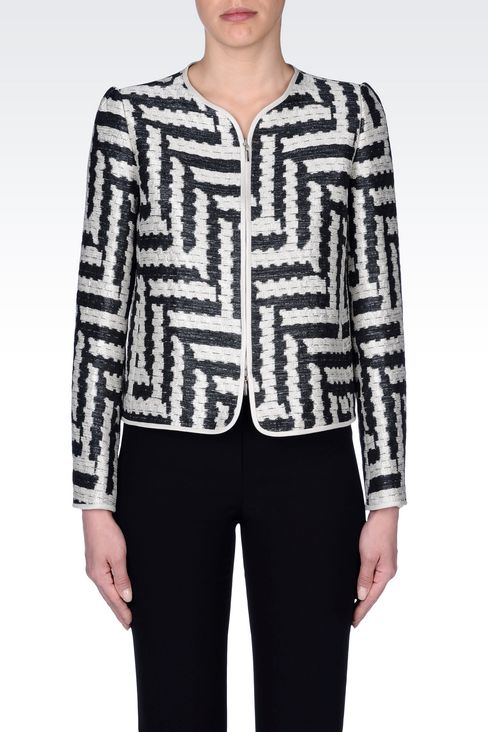 CREW NECK JACKET IN GEOMETRIC JACQUARD: Dinner jackets Women by Armani - 3