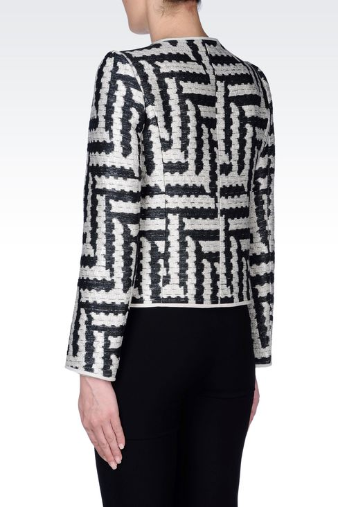 CREW NECK JACKET IN GEOMETRIC JACQUARD: Dinner jackets Women by Armani - 4