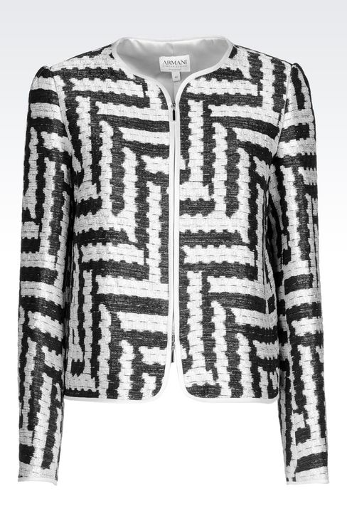 CREW NECK JACKET IN GEOMETRIC JACQUARD: Dinner jackets Women by Armani - 1