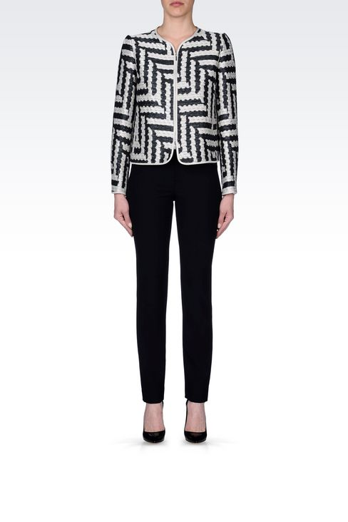 CREW NECK JACKET IN GEOMETRIC JACQUARD: Dinner jackets Women by Armani - 2