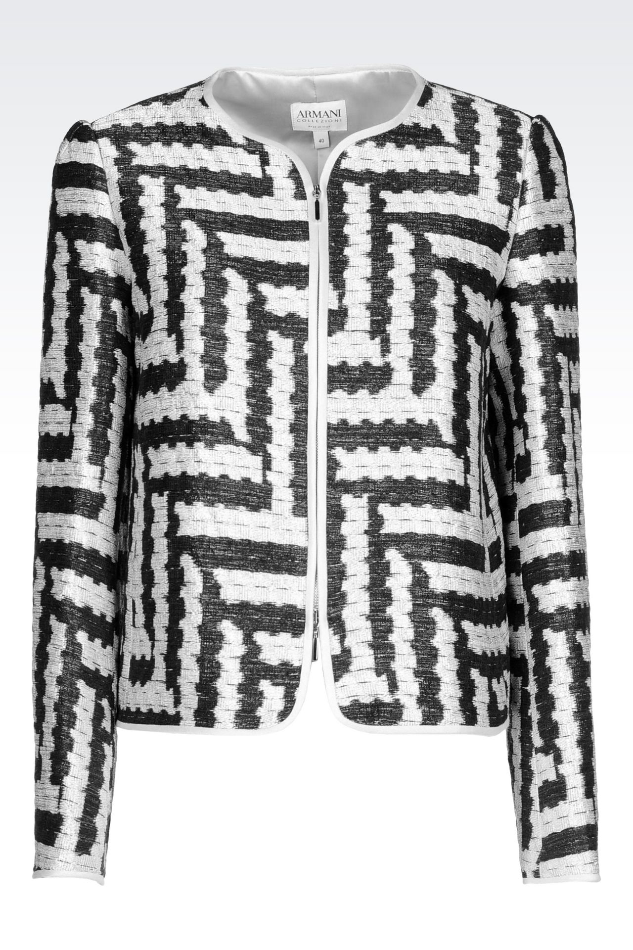 CREW NECK JACKET IN GEOMETRIC JACQUARD: Dinner jackets Women by Armani - 0