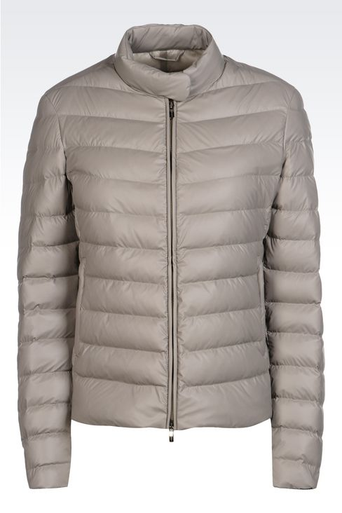 SHORT DOWN JACKET IN COATED NYLON: Bomber jackets Women by Armani - 1