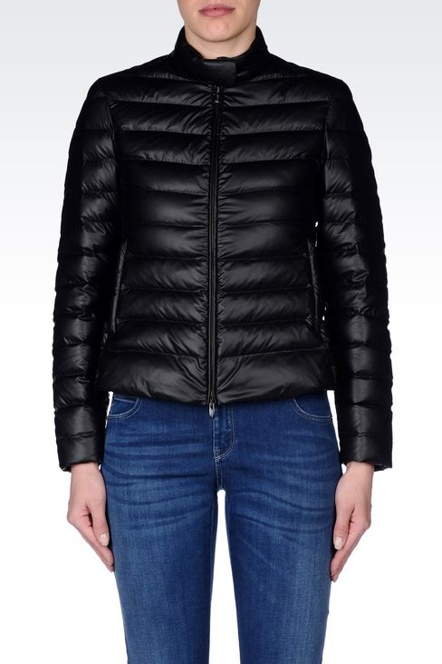 SHORT DOWN JACKET IN COATED NYLON: Bomber jackets Women by Armani - 3