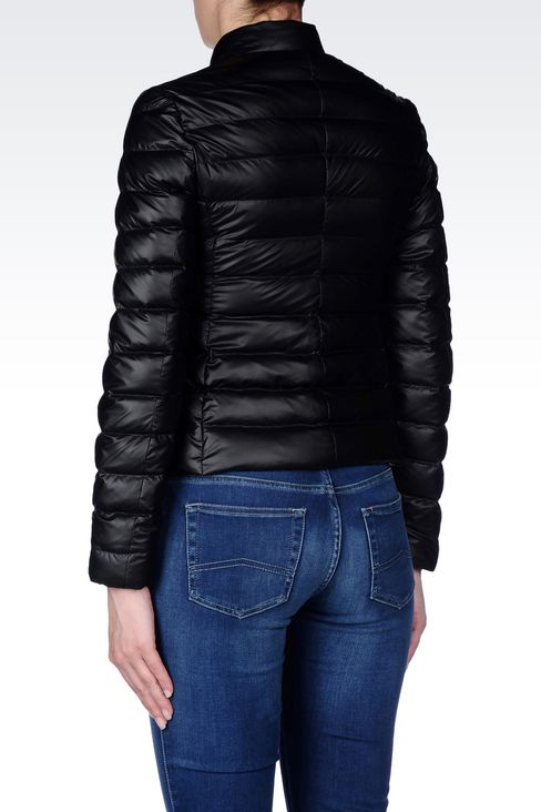SHORT DOWN JACKET IN COATED NYLON: Bomber jackets Women by Armani - 4