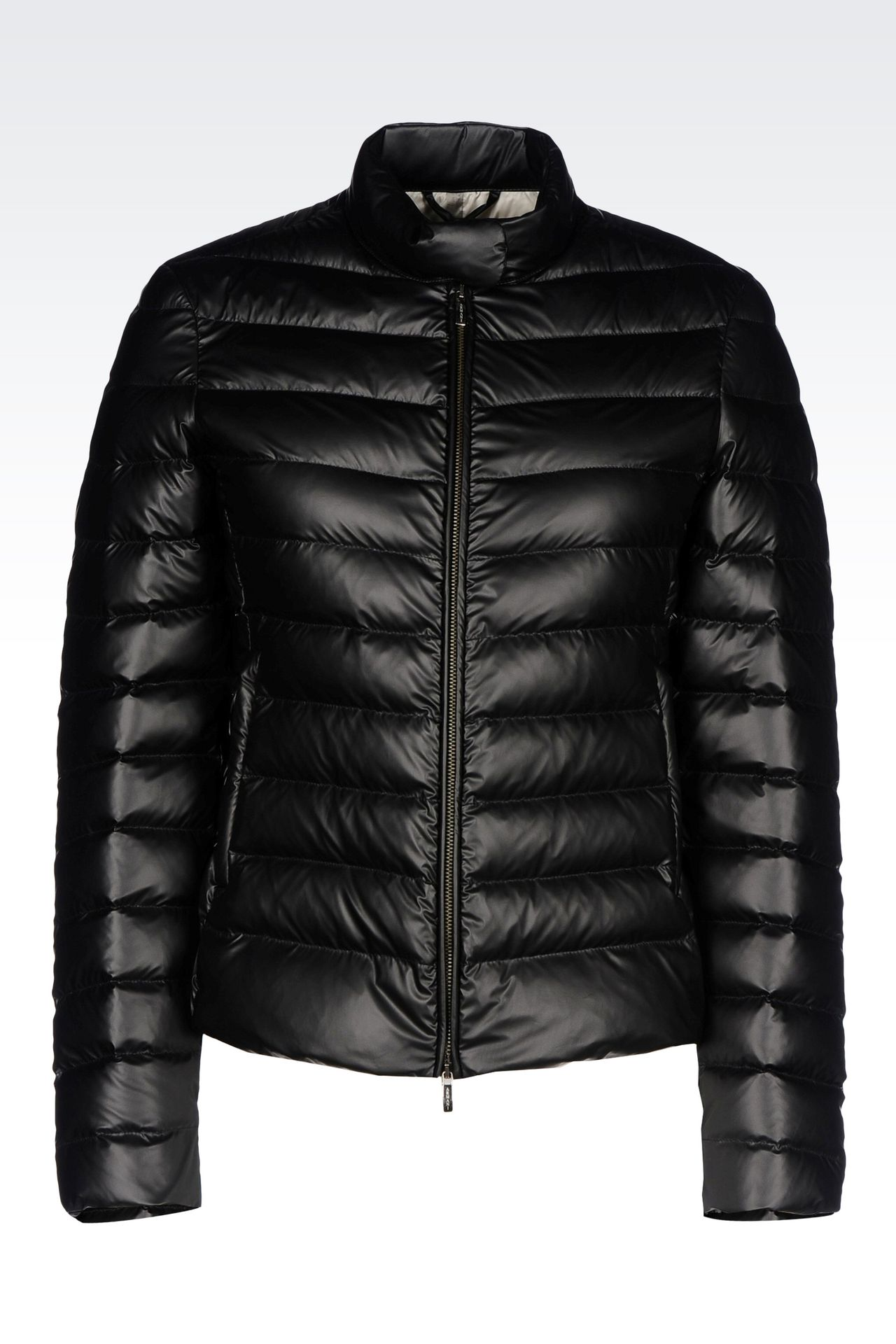 SHORT DOWN JACKET IN COATED NYLON: Bomber jackets Women by Armani - 0