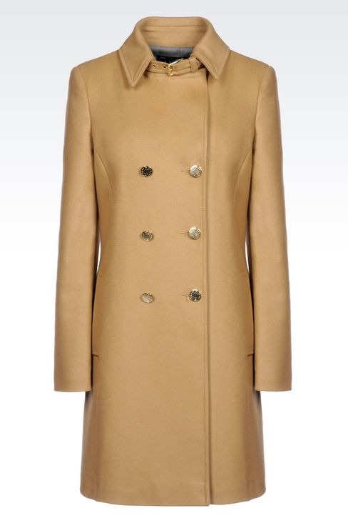 DOUBLE-BREASTED COAT IN BROADCLOTH: Dust jackets Women by Armani - 1