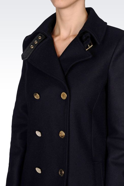 DOUBLE-BREASTED COAT IN BROADCLOTH: Dust jackets Women by Armani - 5