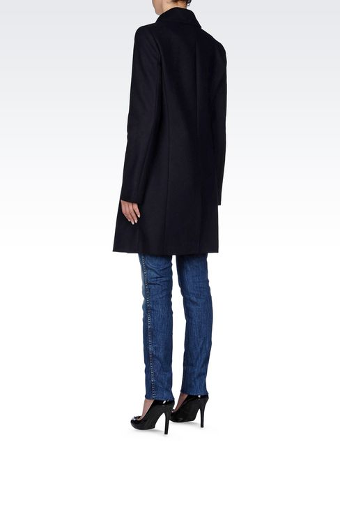 DOUBLE-BREASTED COAT IN BROADCLOTH: Dust jackets Women by Armani - 4