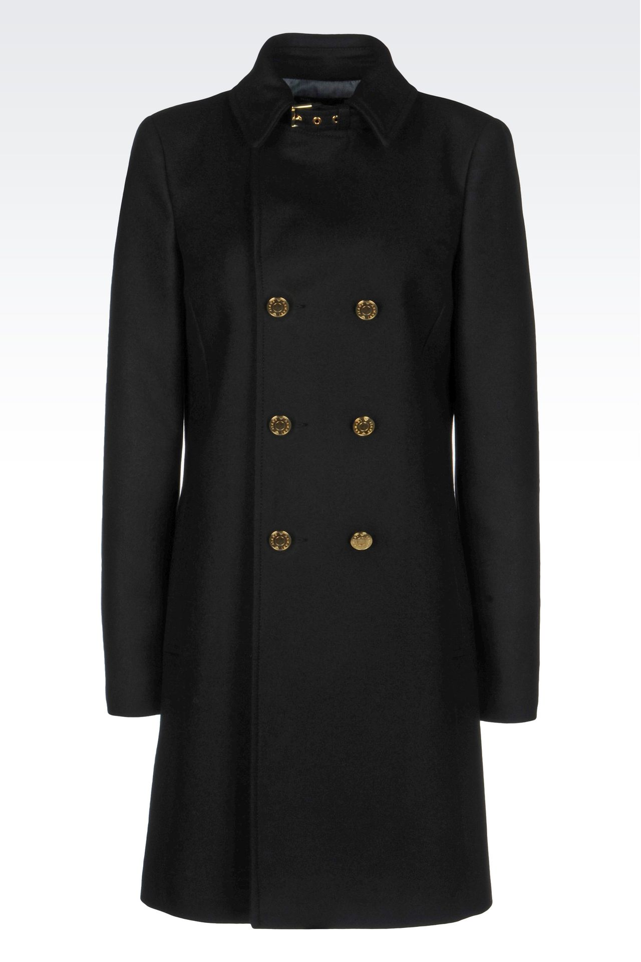DOUBLE-BREASTED COAT IN BROADCLOTH: Dust jackets Women by Armani - 0