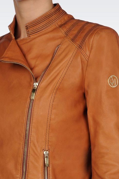 LAMBSKIN JACKET WITH ASYMMETRIC FASTENING: Leather jackets Women by Armani - 5