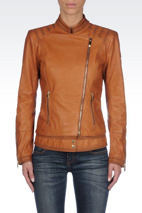 LAMBSKIN JACKET WITH ASYMMETRIC FASTENING: Leather jackets Women by Armani - 3