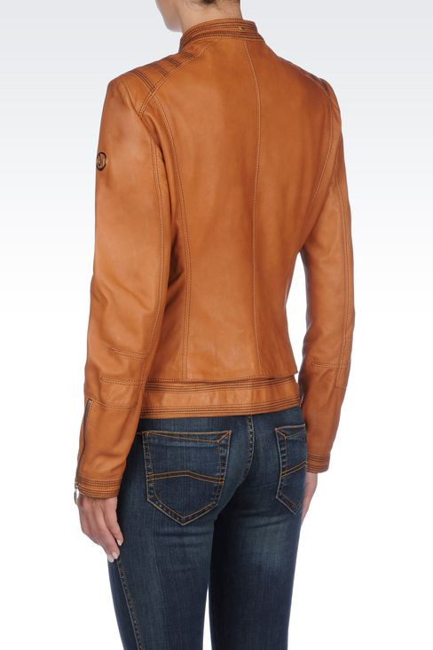LAMBSKIN JACKET WITH ASYMMETRIC FASTENING: Leather jackets Women by Armani - 4