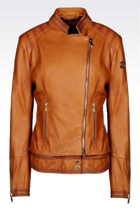 LAMBSKIN JACKET WITH ASYMMETRIC FASTENING: Leather jackets Women by Armani - 1