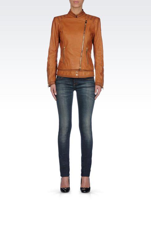LAMBSKIN JACKET WITH ASYMMETRIC FASTENING: Leather jackets Women by Armani - 2