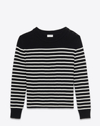 Classic Marinière Sweater in Black and Ivory Striped Cotton and Wool