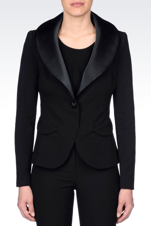 JACKET IN VISCOSE BLEND WITH SATIN NECKLINE: One button jackets Women by Armani - 3