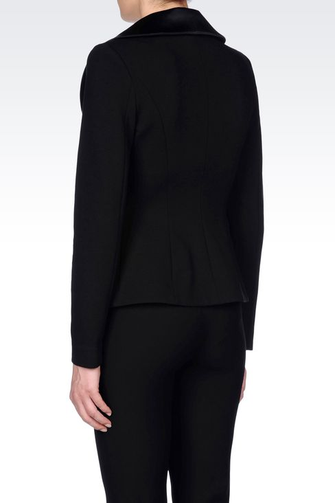 JACKET IN VISCOSE BLEND WITH SATIN NECKLINE: One button jackets Women by Armani - 4