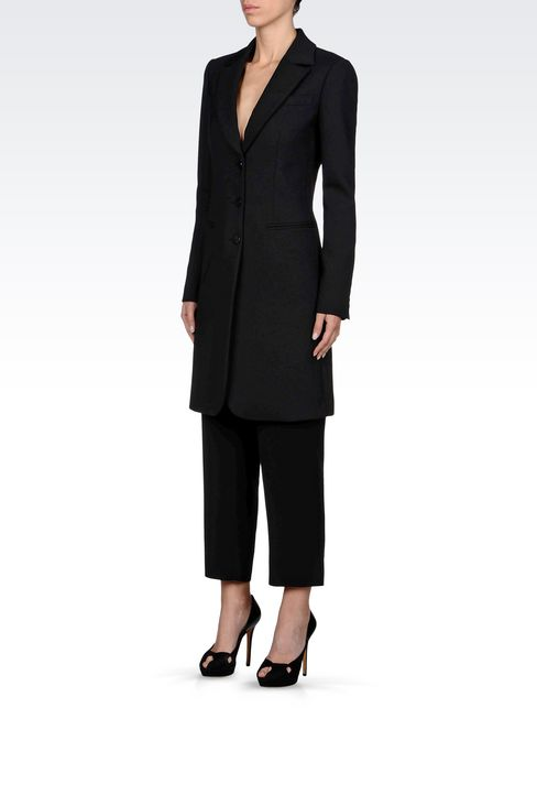 SINGLE-BREASTED COAT IN WOOL BLEND: Single-breasted coats Women by Armani - 3
