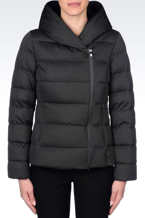 HOODED DOWN JACKET IN TECHNICAL FABRIC: Dust jackets Women by Armani - 3