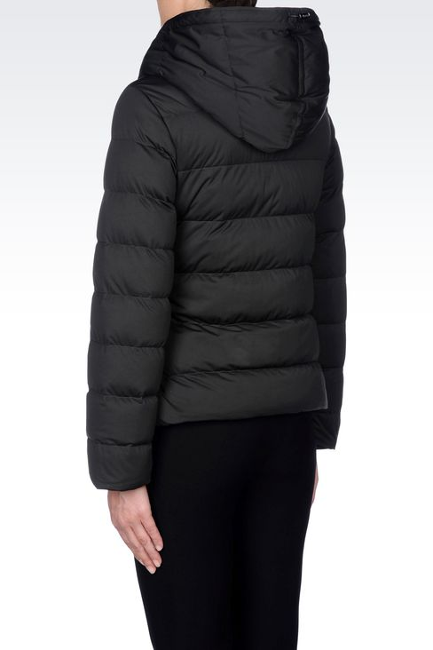 HOODED DOWN JACKET IN TECHNICAL FABRIC: Dust jackets Women by Armani - 4