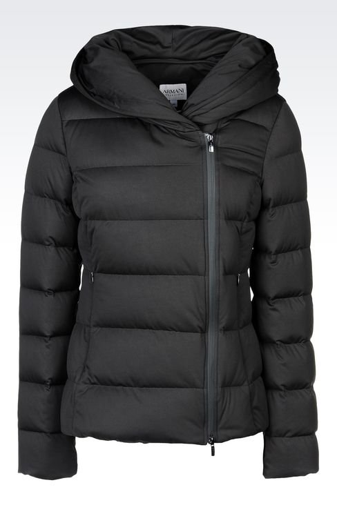 HOODED DOWN JACKET IN TECHNICAL FABRIC: Dust jackets Women by Armani - 1