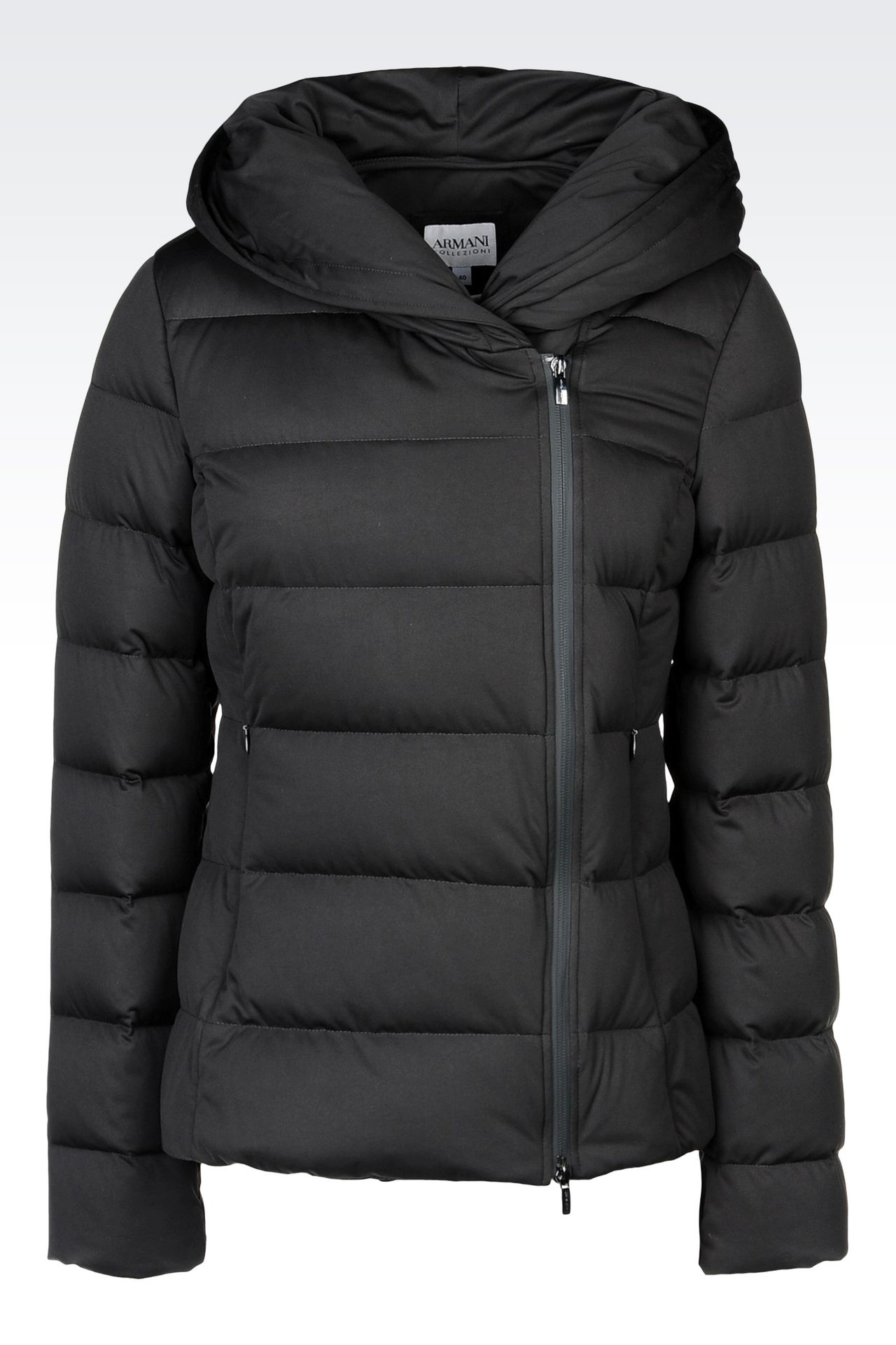 HOODED DOWN JACKET IN TECHNICAL FABRIC: Dust jackets Women by Armani - 0