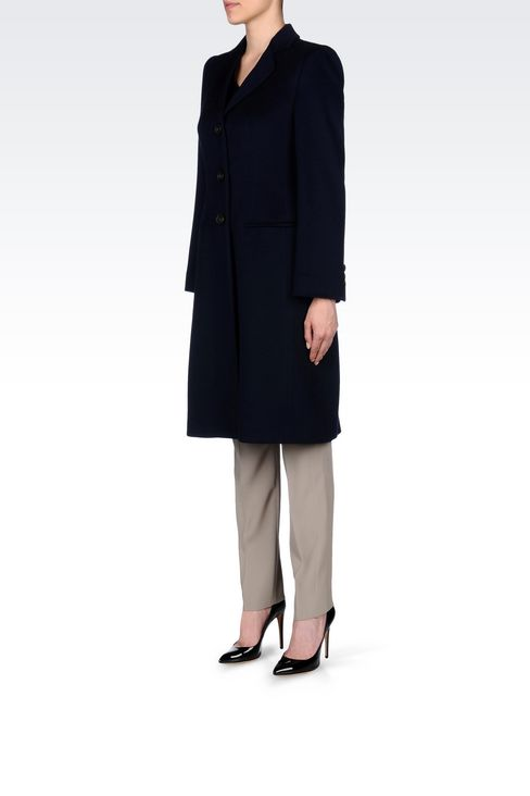 CLASSIC COAT IN WOOL BROADCLOTH: Single-breasted coats Women by Armani - 3