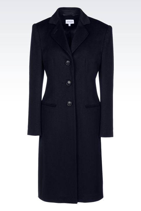 CLASSIC COAT IN WOOL BROADCLOTH: Single-breasted coats Women by Armani - 1
