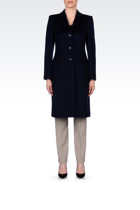 CLASSIC COAT IN WOOL BROADCLOTH: Single-breasted coats Women by Armani - 2