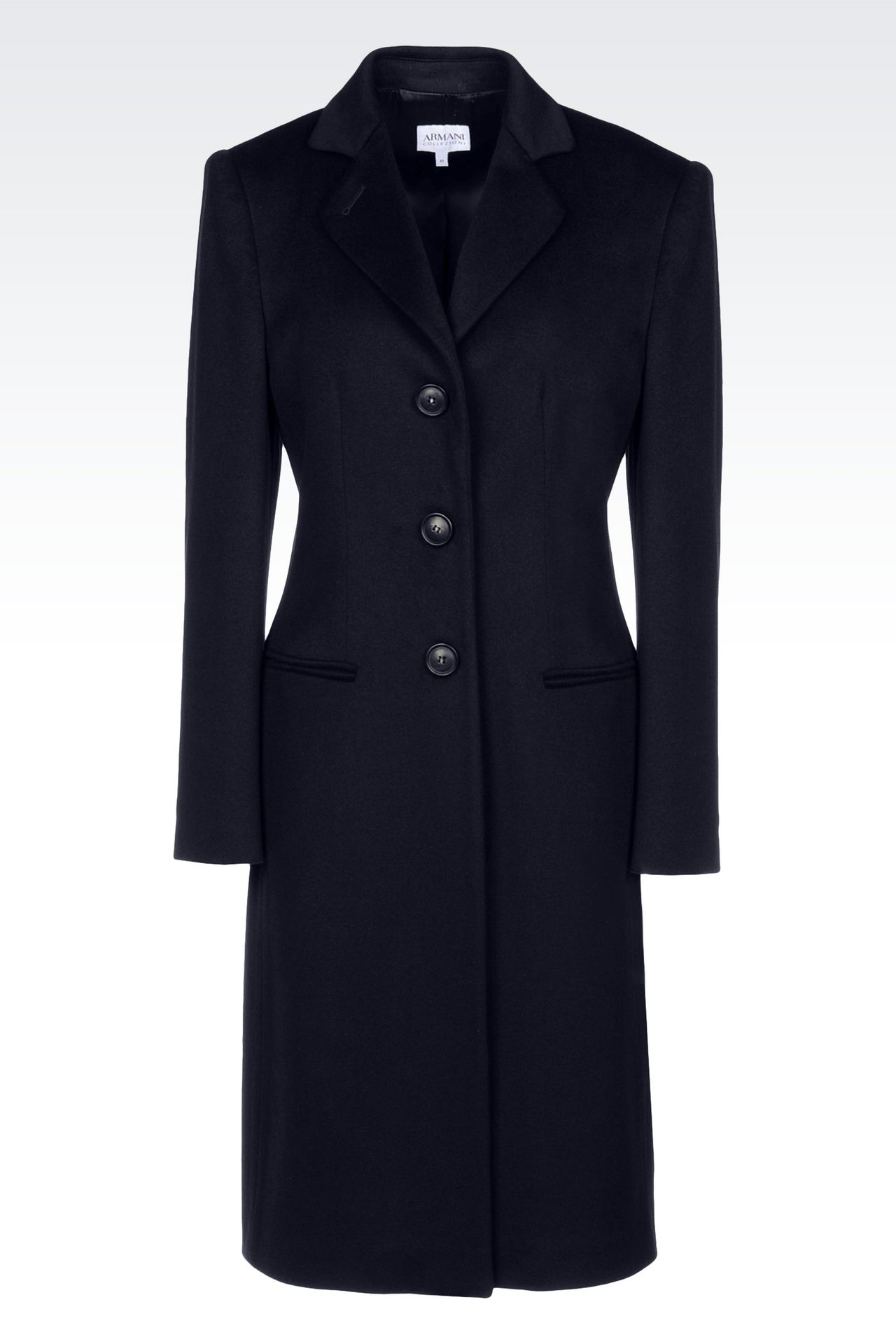 CLASSIC COAT IN WOOL BROADCLOTH: Single-breasted coats Women by Armani - 0