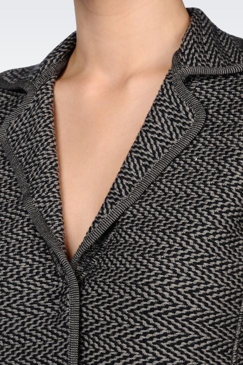 JACKET IN CHEVRON DESIGN VIRGIN WOOL: Three buttons jackets Women by Armani - 5