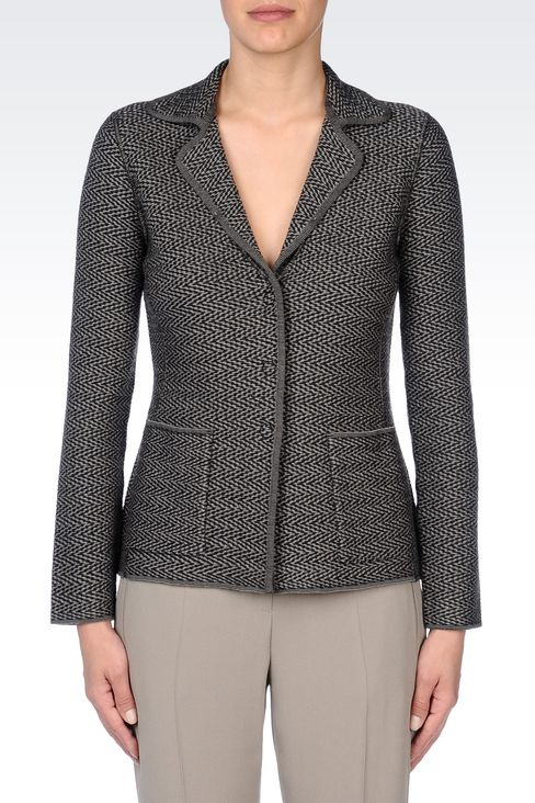 JACKET IN CHEVRON DESIGN VIRGIN WOOL: Three buttons jackets Women by Armani - 3