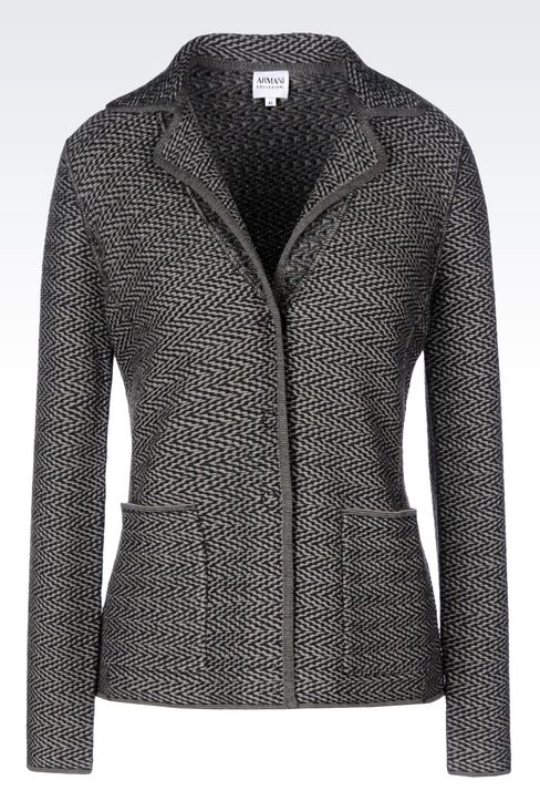 JACKET IN CHEVRON DESIGN VIRGIN WOOL: Three buttons jackets Women by Armani - 1