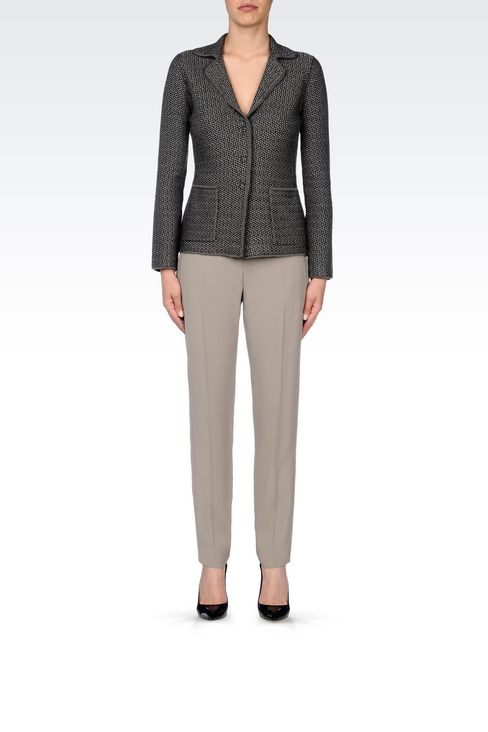 JACKET IN CHEVRON DESIGN VIRGIN WOOL: Three buttons jackets Women by Armani - 2