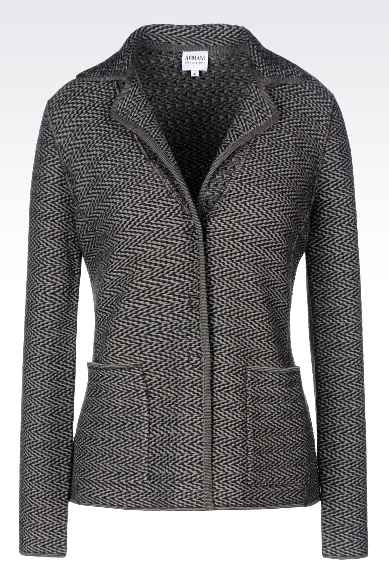 JACKET IN CHEVRON DESIGN VIRGIN WOOL: Three buttons jackets Women by Armani - 0