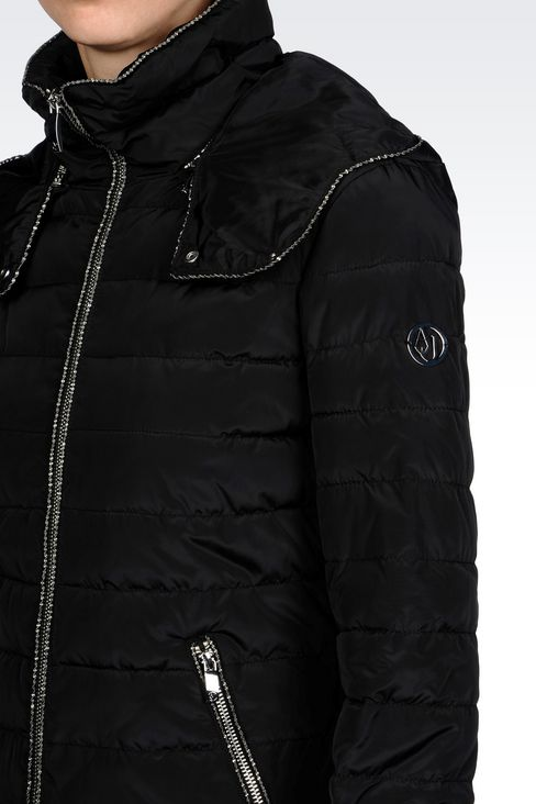 DOWN JACKET IN TECHNICAL FABRIC WITH HOOD: Mid-length jackets Women by Armani - 5