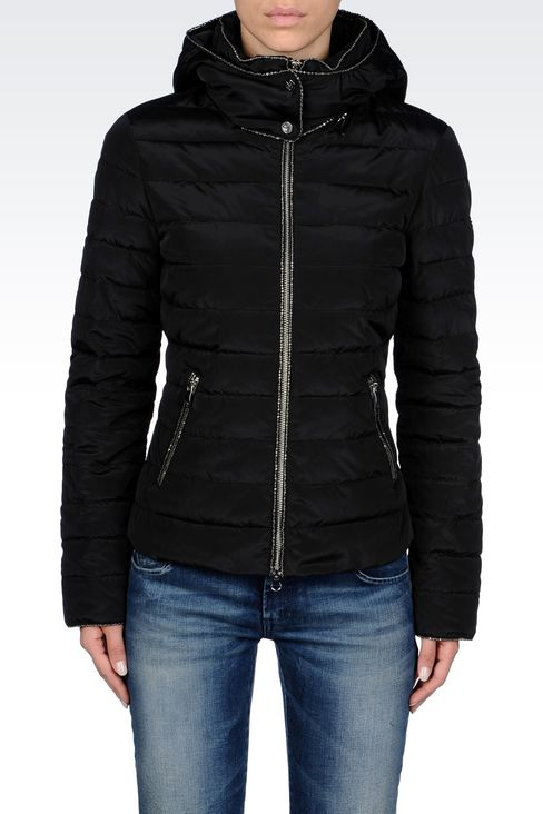 DOWN JACKET IN TECHNICAL FABRIC WITH HOOD: Mid-length jackets Women by Armani - 3