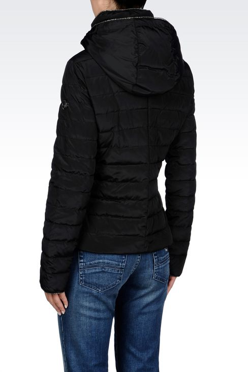 DOWN JACKET IN TECHNICAL FABRIC WITH HOOD: Mid-length jackets Women by Armani - 4