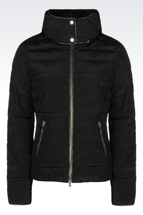 DOWN JACKET IN TECHNICAL FABRIC WITH HOOD: Mid-length jackets Women by Armani - 1