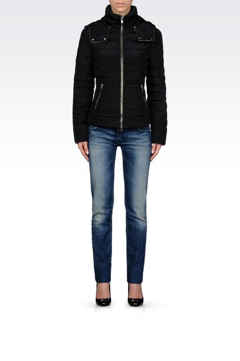 DOWN JACKET IN TECHNICAL FABRIC WITH HOOD: Mid-length jackets Women by Armani - 2