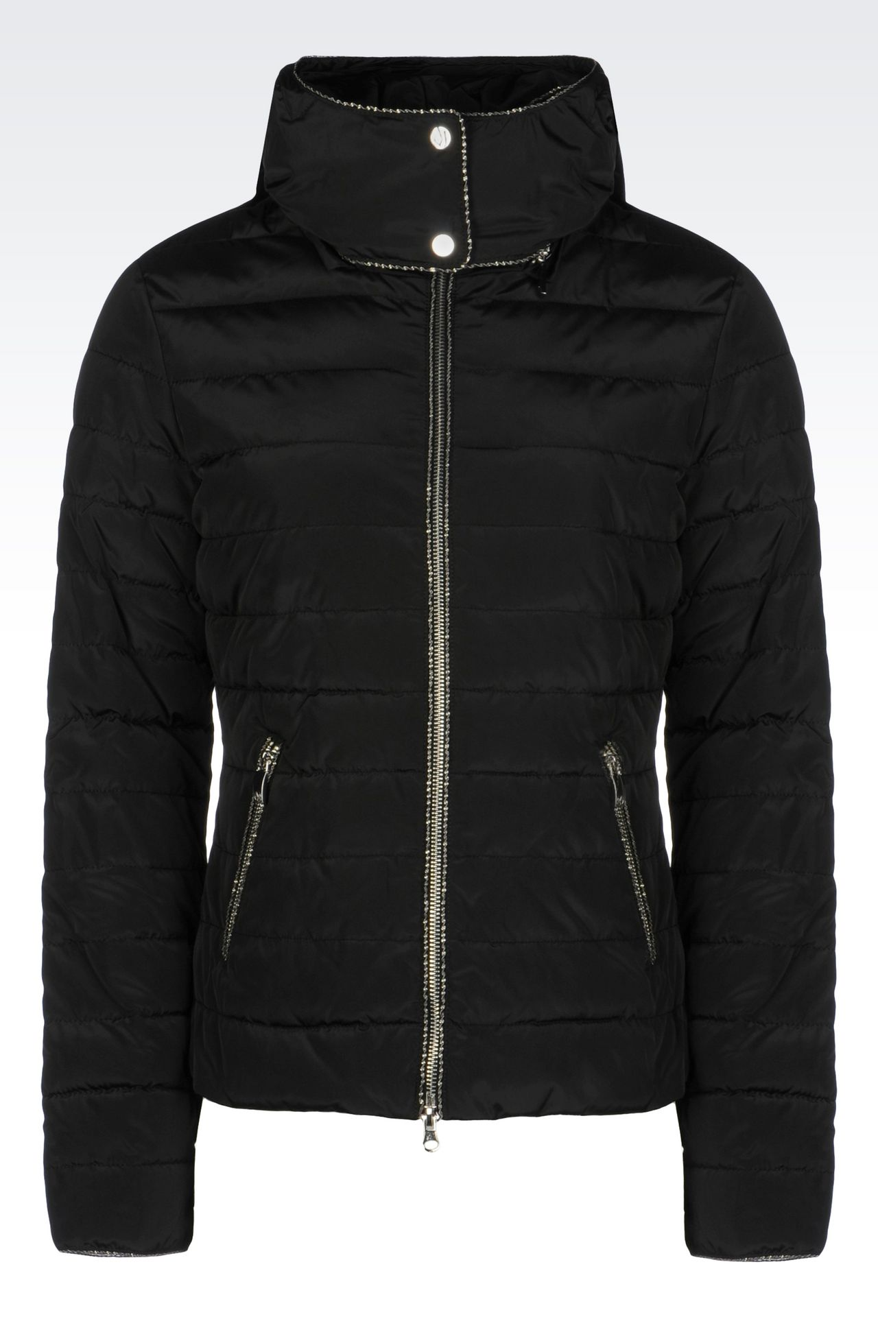 DOWN JACKET IN TECHNICAL FABRIC WITH HOOD: Mid-length jackets Women by Armani - 0