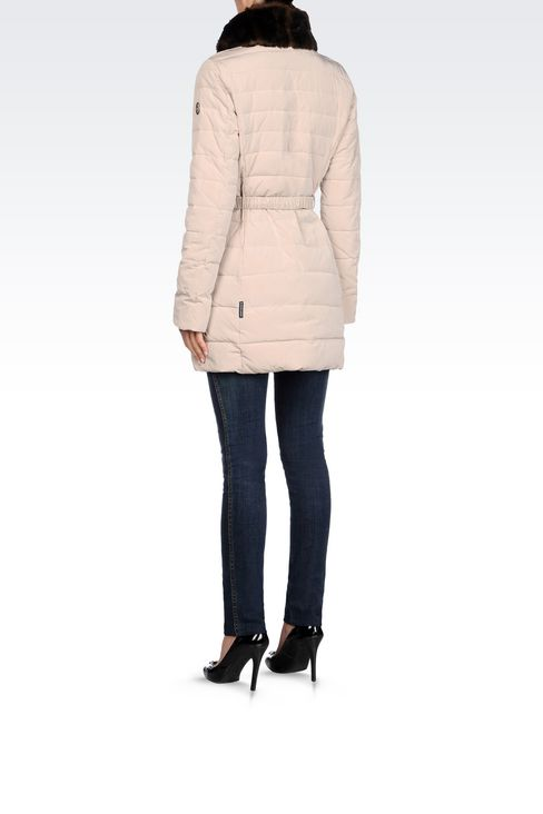 DOWN JACKET IN TECHNICAL FABRIC WITH FAUX FUR COLLAR: Dust jackets Women by Armani - 4