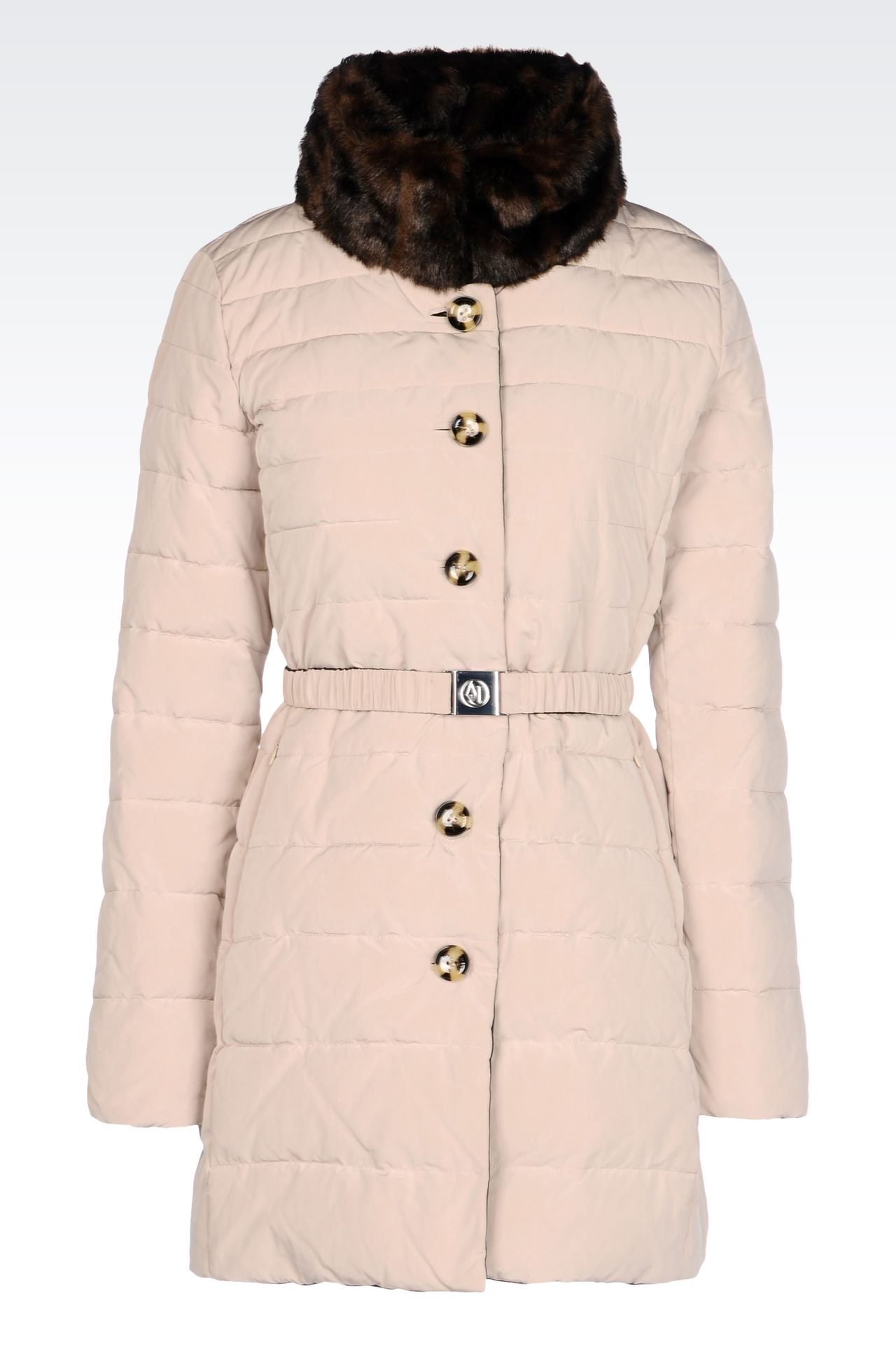 DOWN JACKET IN TECHNICAL FABRIC WITH FAUX FUR COLLAR: Dust jackets Women by Armani - 0