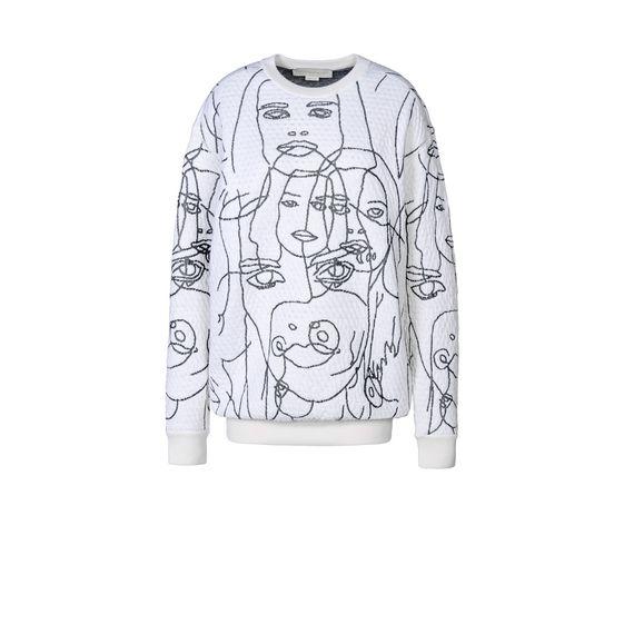 STELLA McCARTNEY, Sweater, Pull orné de lignes formant des visages