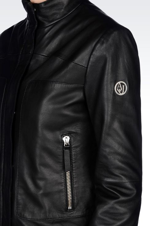 LEATHER PARKA: Leather jackets Women by Armani - 5