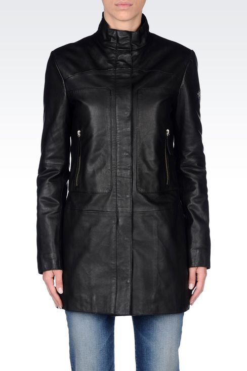 LEATHER PARKA: Leather jackets Women by Armani - 3