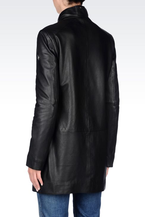 LEATHER PARKA: Leather jackets Women by Armani - 4