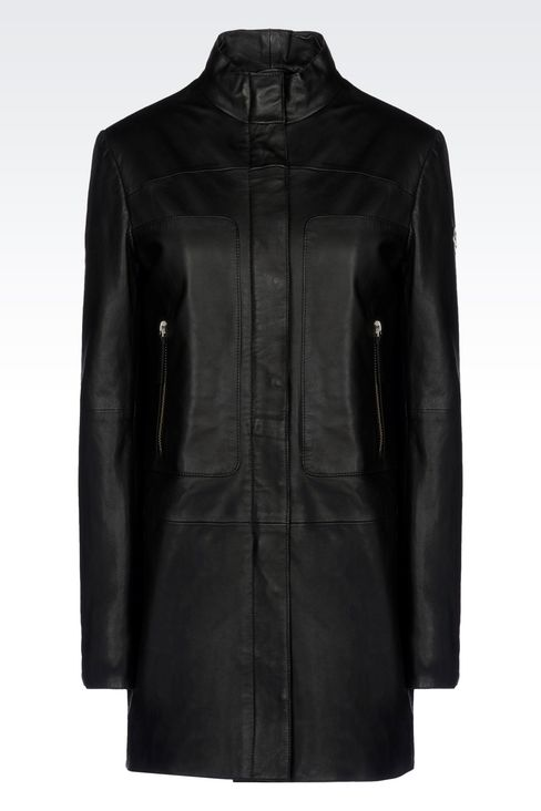 LEATHER PARKA: Leather jackets Women by Armani - 1