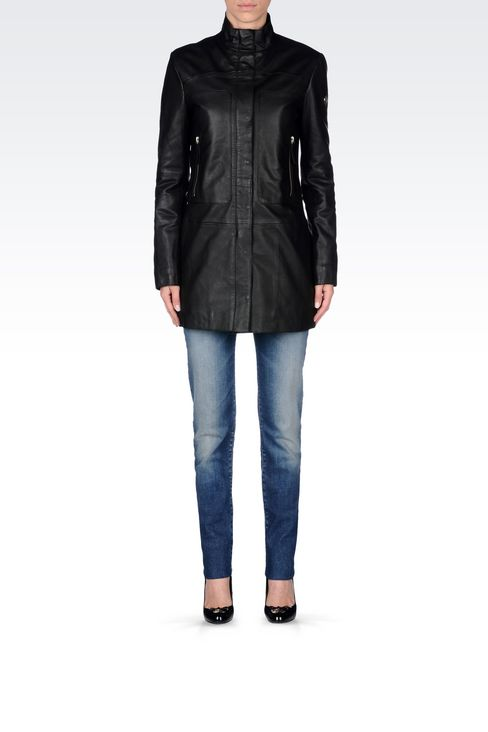 LEATHER PARKA: Leather jackets Women by Armani - 2
